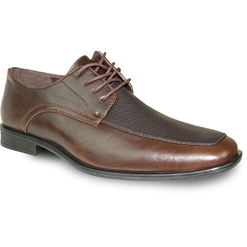 BRAVO Men Dress Shoe NEW KELLY-1 Classic Oxford with Leather Lining Brown Matte