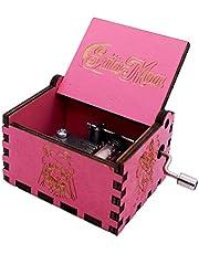 Sailor Moon Music Box Hand Crank Musical Box Carved Wooden Tiny Music Boxes,Play Moonlight Densetsu