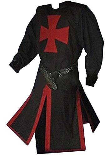 Medieval Empire Knight Cloak Coat Templar Knight Crusader Warrior Robe Halloween Costume -