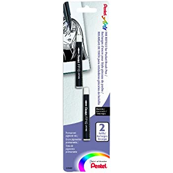 Pentel Arts Pocket Brush Refills, Black Ink 2-Pk Carded (FP10BP2A)