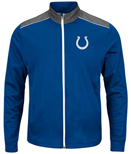 Indianapolis Colts NFL Mens Majestic Therma Base Tech Team Full Zip Track Jacket Royal Blue Big Sizes - Base Therma Blue Royal