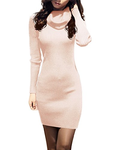 v28 Women Cowl Neck Knit Stretchable Elasticity Long Sleeve Slim Fit Sweater Dress (USASize XL, -