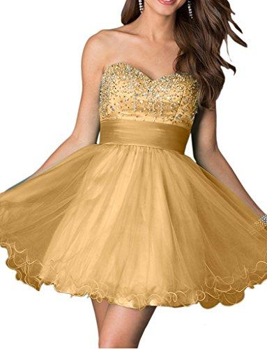 Gelb Tanzenkleider Cocktailkleider Mini Abendkleider Rock A Linie Kurz Gold La Braut Marie Partykleider 8RwYqqEx1