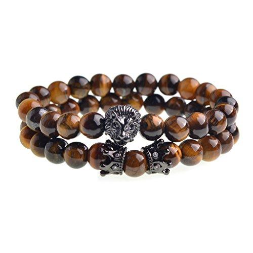 Joan Nunu Handmade Black 8mm Stone Beads Bracelets Set King Crown Tiger Charm Fashion jewelry for Men Women (Personalized Semi Precious Mothers Bracelet)