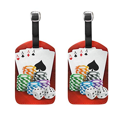 Puyrtdfs Luggage Labels,Playing Cards with Casino Coins and Dice Luggage Bag Tags Travel Tags Suitcase Accessories 2 Pieces Set]()