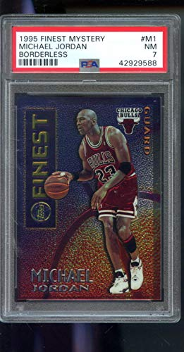 (1995-96 Topps Finest Mystery Borderless #M1 Michael Jordan Insert PSA 7 Graded NBA Basketball Card)