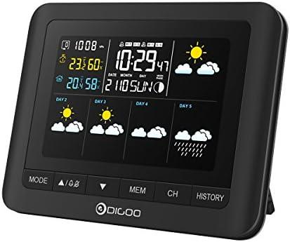 DIGOO Estación meteorológica con Sensor inalámbrico al Aire Libre, TH-8805 Termómetro Digital higrómetro con 5 días de pronóstico del Tiempo