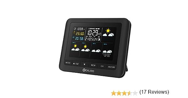 DIGOO Estación meteorológica con Sensor inalámbrico al Aire Libre, TH-8805 Termómetro Digital higrómetro con 5 días de pronóstico del Tiempo: Amazon.es: ...
