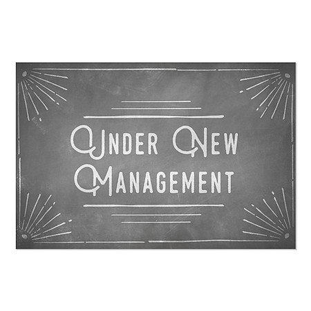 5-Pack Under New Management Stripes White Window Cling CGSignLab 27x18