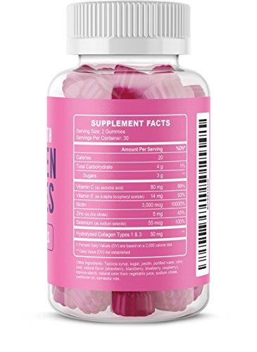 MAV Nutrition Collagen Hair Vitamins Gummy for Men & Women, Anti-Aging Benefits with Vitamin C, Zinc Supplement & Biotin; Non-GMO, 60 Count