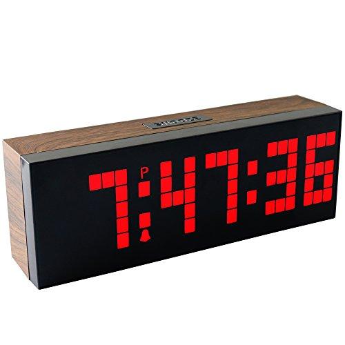 chihai digital led clock wall alarm digital calendar clock count down timer wood grain series. Black Bedroom Furniture Sets. Home Design Ideas