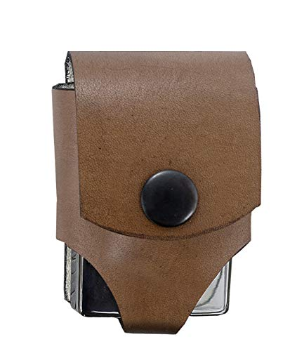 (for Zippo Genuine Leather Heavy Duty Pouches Lighter Holder Case Hand Made Pouch Accessories by Ebsem (Belt Lighter, Wingate Brown))