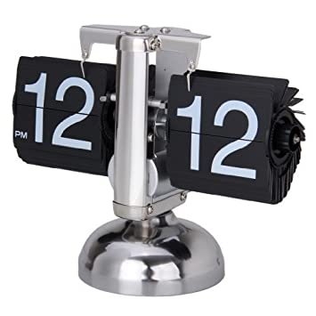 Reloj de Escritorio Digital Despertador (Alarma de Mesa, Auto Flip, Tipo Libra, Soporte Metal, Estilo Retro) - Negro