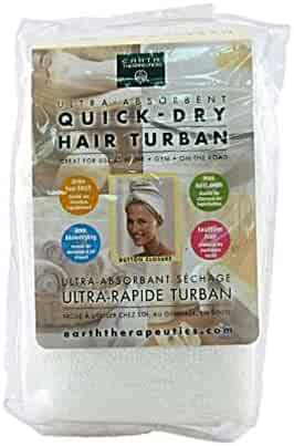 Earth Therapeutics Quick Dry Hair Turban Ultra Absorbent, White, 1 Ea, 1count