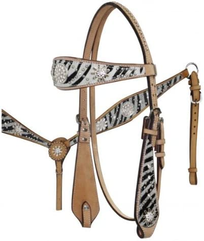Showman Wide Browband Headstall /& Breast Collar Set w//Colored Hair On Cowhide Zebra Print