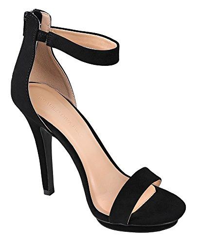 Toe Stiletto Black Strap Diva Amy 01 Open Womens Heel Ankle Sandal Wild nubuck Pump Platform High wUg4XqB