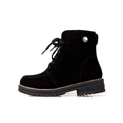 Strap Closed Womens Lace Urethane 1TO9 Low Black MNS02402 Nubuck Heels Toe Adjustable Boots Lining Up Boots Top Warm Low A0xwCRwq