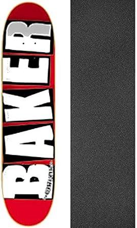 Baker Brand Logo Mini Skate Deck-7.3 RED/WHT w/Mob Grip