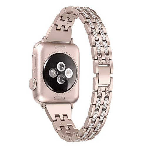 Gold Watch Lover (Secbolt Bling Bands Compatible Apple Watch Band 38mm 40mm iWatch Series 3, Series 2, Series 1, Diamond Rhinestone Metal Jewelry Wristband Strap, Champagne Gold)