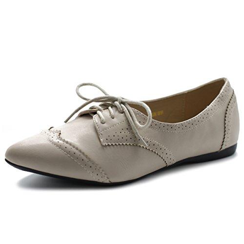 Ollio Women's Ballet Shoe Flat Enamel Pointed Toe Oxford M1818 (8 B(M) US, Beige) by Ollio