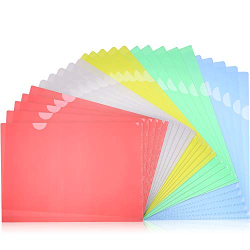 Letter Project Folder (Bememo 25 Pieces Transparent Document Folder Copy Safe A4 Letter Size Project Pockets Set of 5 Assorted Colors, Yellow, Green, Blue, Red, Clear)