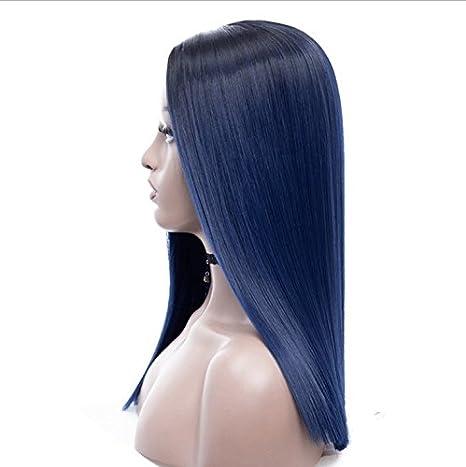 Royalvirgin Ombre Peluca azul con raíces oscuras largas rectas sin encaje pelucas para mujer pelo sintético resistente al calor de repuesto pelucas: ...