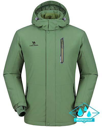 CAMEL CROWN Ski Jacket Men Waterproof Warm Cotton Winter Snow Coat Mountain Snowboard Windbreaker Hooded Raincoat Grass Green S