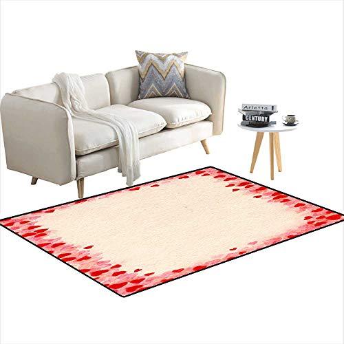 Room Home Bedroom Carpet Floor Mat Heart-Frame for Valentine s Day 3'x18'