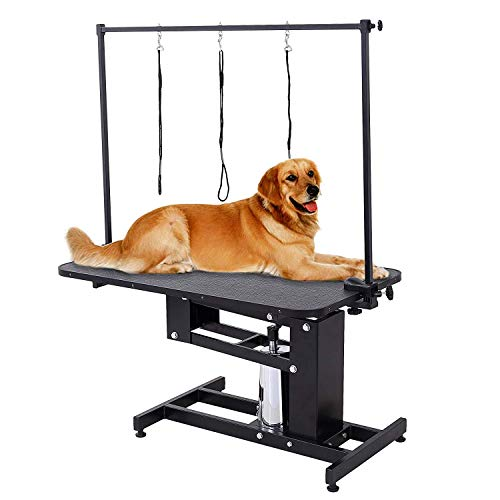 SUNCOO Hydraulic Dog Grooming Table Heavy Duty Z-Lift Pet Table with Arm Leash Loop Height Professional Adjustable Pump for Medium Large Dog 43.3″ L x 24″ W x 21.6-38.9″ H