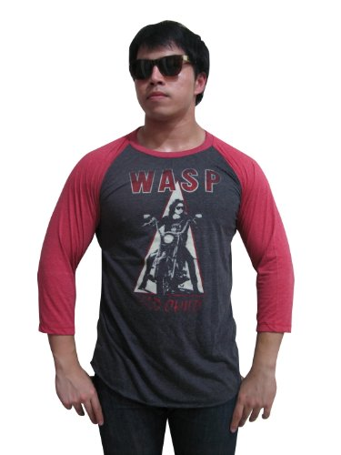 Bunny Brand Men's W.A.S.P Wild Child'85 Metal Band Rock Raglan T-Shirt Gray (X-Large)