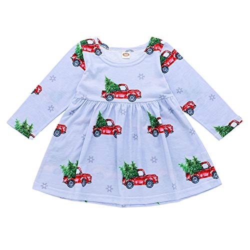 Infant Baby Girls Xmas Dress Toddler Girls Christmas Tree Truck Printed Long Sleeves Frock Dresses Gray Blue (Trees Discount Xmas)