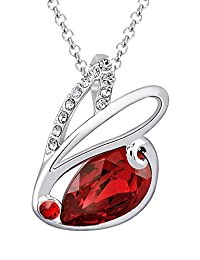 """Fappac Rhodium Plated Red Crystals from Swarovski Bunny Rabbit Pendant Necklace, 15.5+2"""" Ext"""