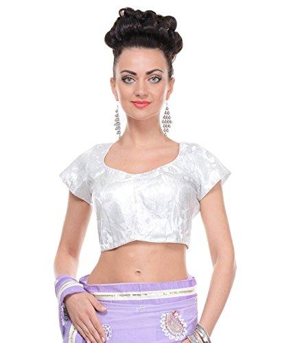 Ladies White Blouses - Fashionable Brocade Padded Designer Saree Top Choli 38