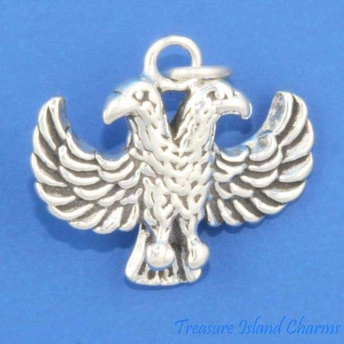 Two-Headed Eagle/Phoenix 3D 925 Solid Sterling Silver Charm Pendant Crafting Key Chain Bracelet Necklace Jewelry Accessories Pendants