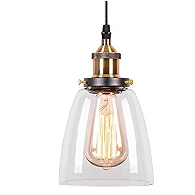 Lightess Luminaire Suspension Vintage Edison Industrielle Abat Jour