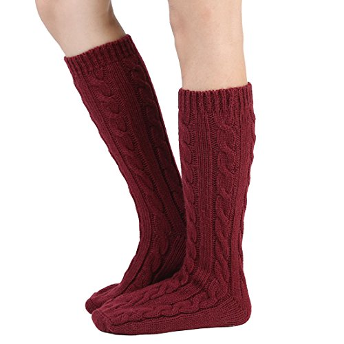 Women Slipper Crew Floor Non Skid Socks House Cable Knit Leg Warmers Knee High Length for Winter (One size, Wine red)