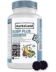 Vegan Sleep Plus Supplement by Herbaland - Plant-Based Sugar-Free Vitamin Gummies Improves Sleep Quality with Melatonin L-Theanine Lemon Balm Vitamin B6 - Passion Fruit Jasmine Flavor 90 Gummies