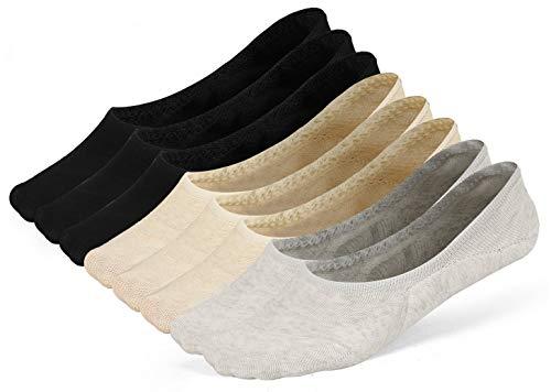 LAISOR Cotton No Show Sock Women's invisible Non Slip Flat Boat Liner Socks (F 8 Pairs-3 black+ 3beige+2grey)