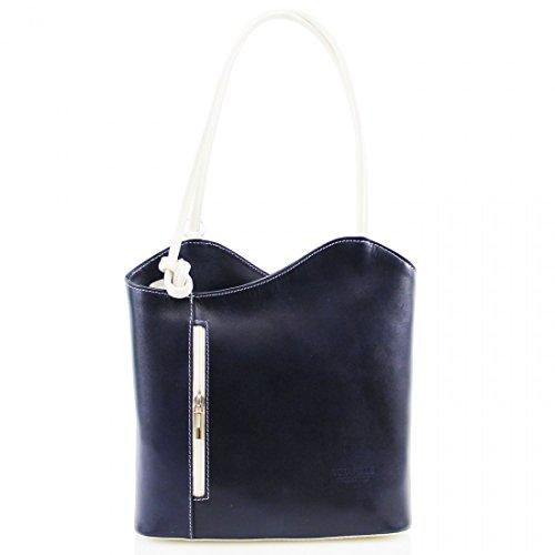 LeahWard Womens Italian Real Leather Hand Made Shoulder or BackPack Handbag Navy/Beige