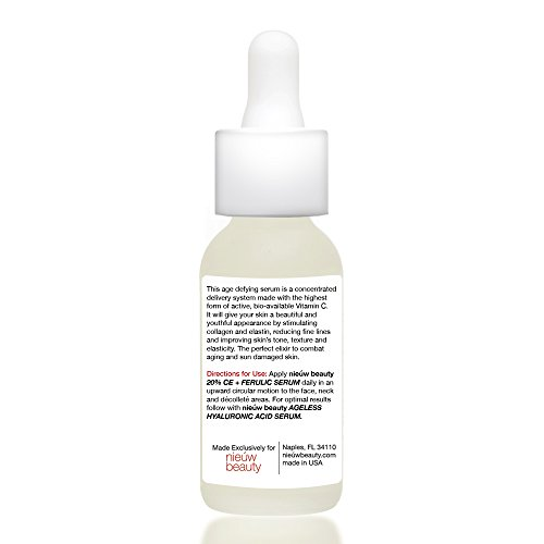 20% CE + FERULIC SERUM by nieuw beauty. Natural & Certified Organic, Anti-Aging, Skin Firming for Women & Men. Fortified Bio-Available Vitamin C, Vitamin E and Ferulic Acid. All skin types. (1 oz)