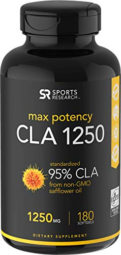 Max Potency CLA 1250 (180 Softgels) with 95% Active Conjugated Linoleic Acid ~ Weight Management Supplement for Men and Women