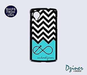 Nexus 5 Case - Black White Chevron Anchored iPhone Cover