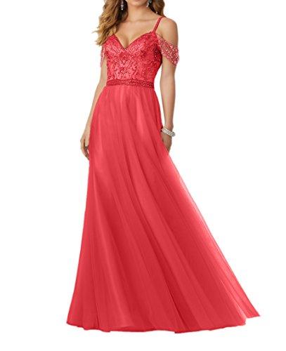 Abendkleider Traeger Lang Rosa Spaghettie Spitze Abschlussballkleider Rot Promkleider Damen Charmant SOIXwq84n