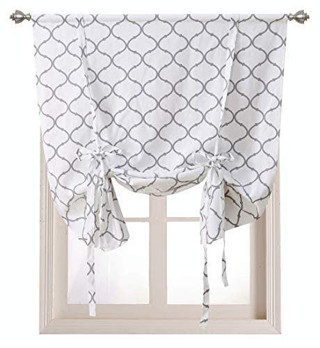 (Regal Home Collections Shabby Lattice Kitchen Curtains - Assorted Colors & Sizes (Hunter Gray, Tie Up Shade))