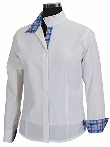 Equine Couture Women's Isabel Coolmax Show Shirt, White/Plaid, 34 - Ladies Show Shirt