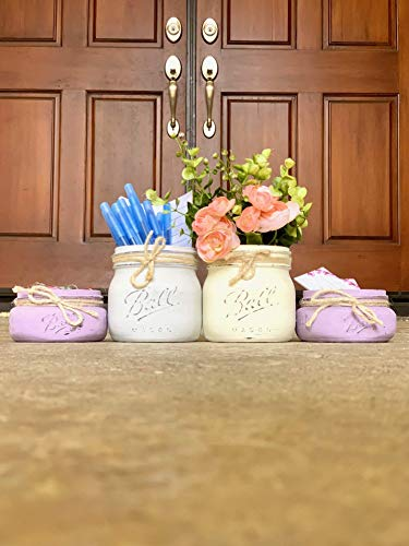Mason Jars for Office, Your Choice of Colors, 4 Piece Set, Artificial Flowers Optional ()
