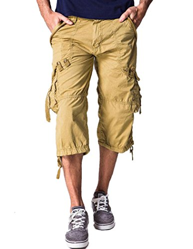 Amoystyle Men's Relaxed Fit Long Cargo Shorts Capri Pants Khaki Tag 30 ()