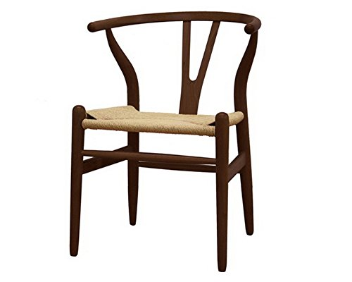 Cheap Mod Made Mid Century Modern W Wood Dining Chair Accent Chair, Walnut Frame Natural Rattan
