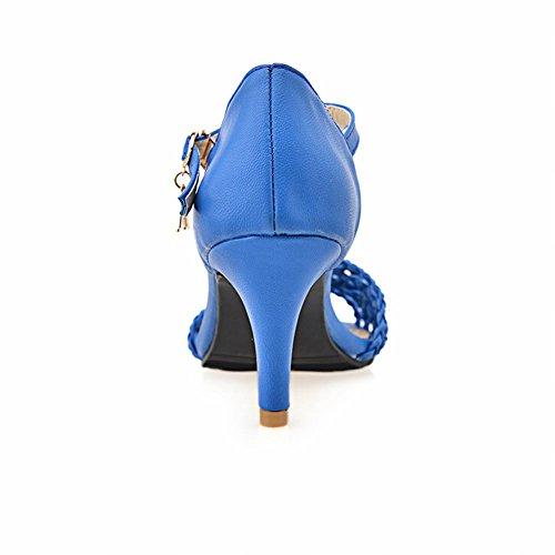 Carol Scarpe Moda Donna Fibbia Maglieria Sexy Charms Sandali Tacco A Spillo Alti Blu