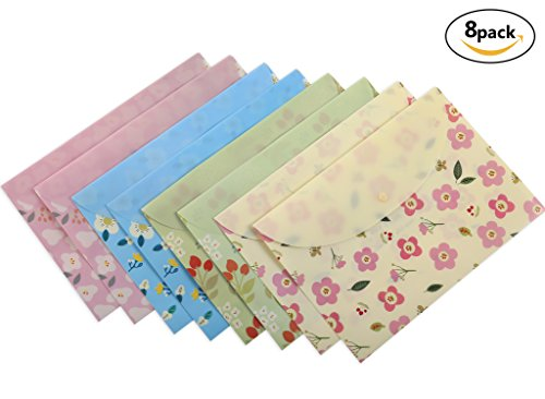Button Booklet Envelope (Skydue Floral Printed Festival Letter Size Poly Envelopes Document Organizer Booklet File Paper Folders with Snap Button, 8Pack)